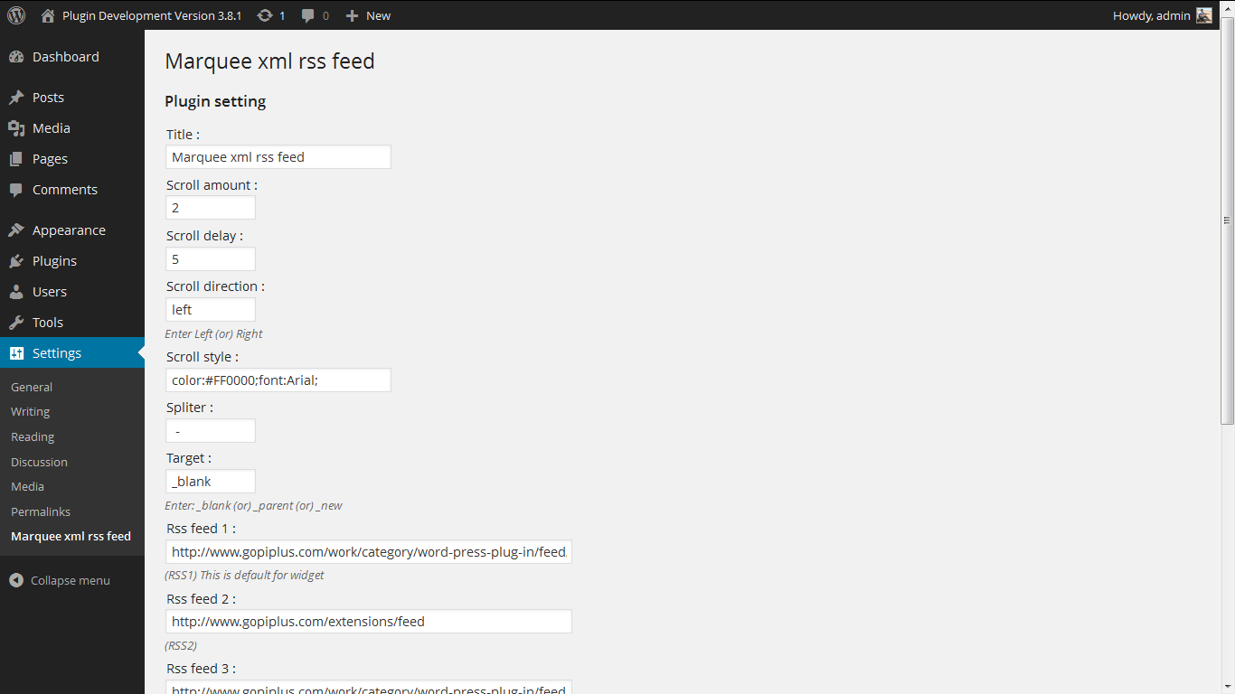 marquee-xml-rss-feed-scroll screenshot 2
