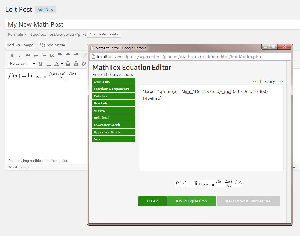 mathtex-equation-editor screenshot 1