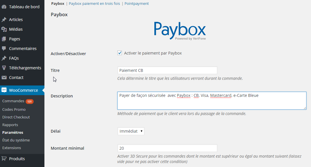 paybox-woocommerce-gateway screenshot 1
