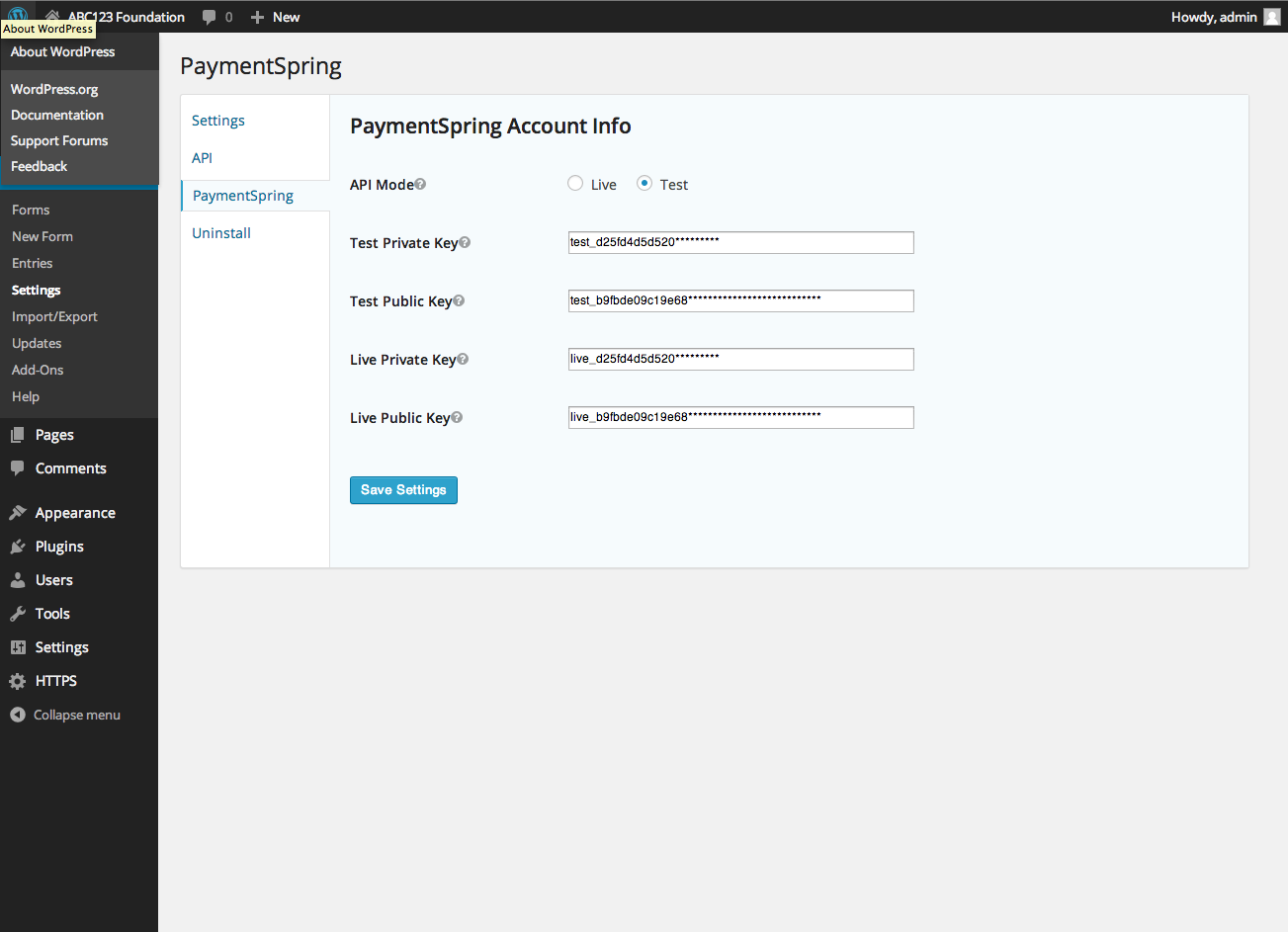 paymentspring-gravity-forms-add-on screenshot 1
