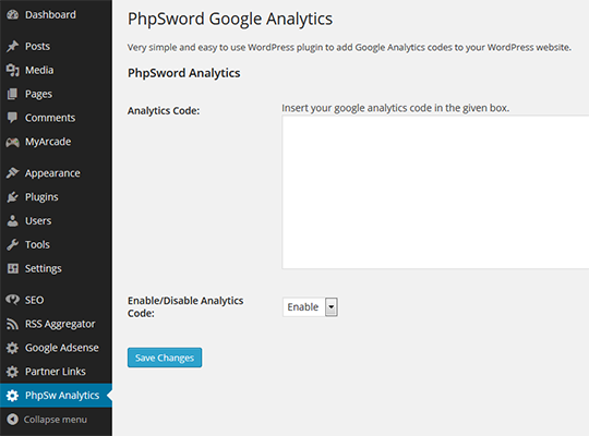 phpsword-google-analytics screenshot 1