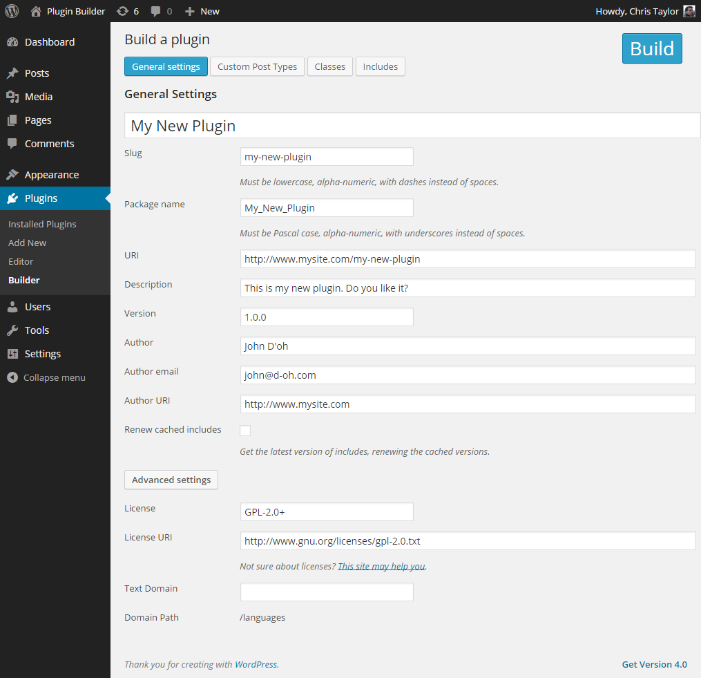 plugin-builder screenshot 2