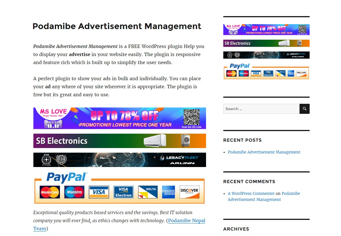 podamibe-advertisement-management screenshot 4