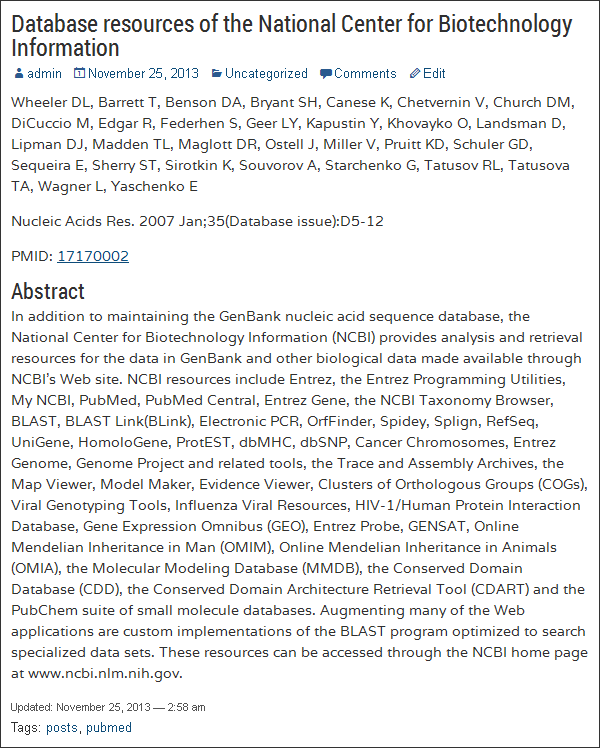 pubmed-posts screenshot 2