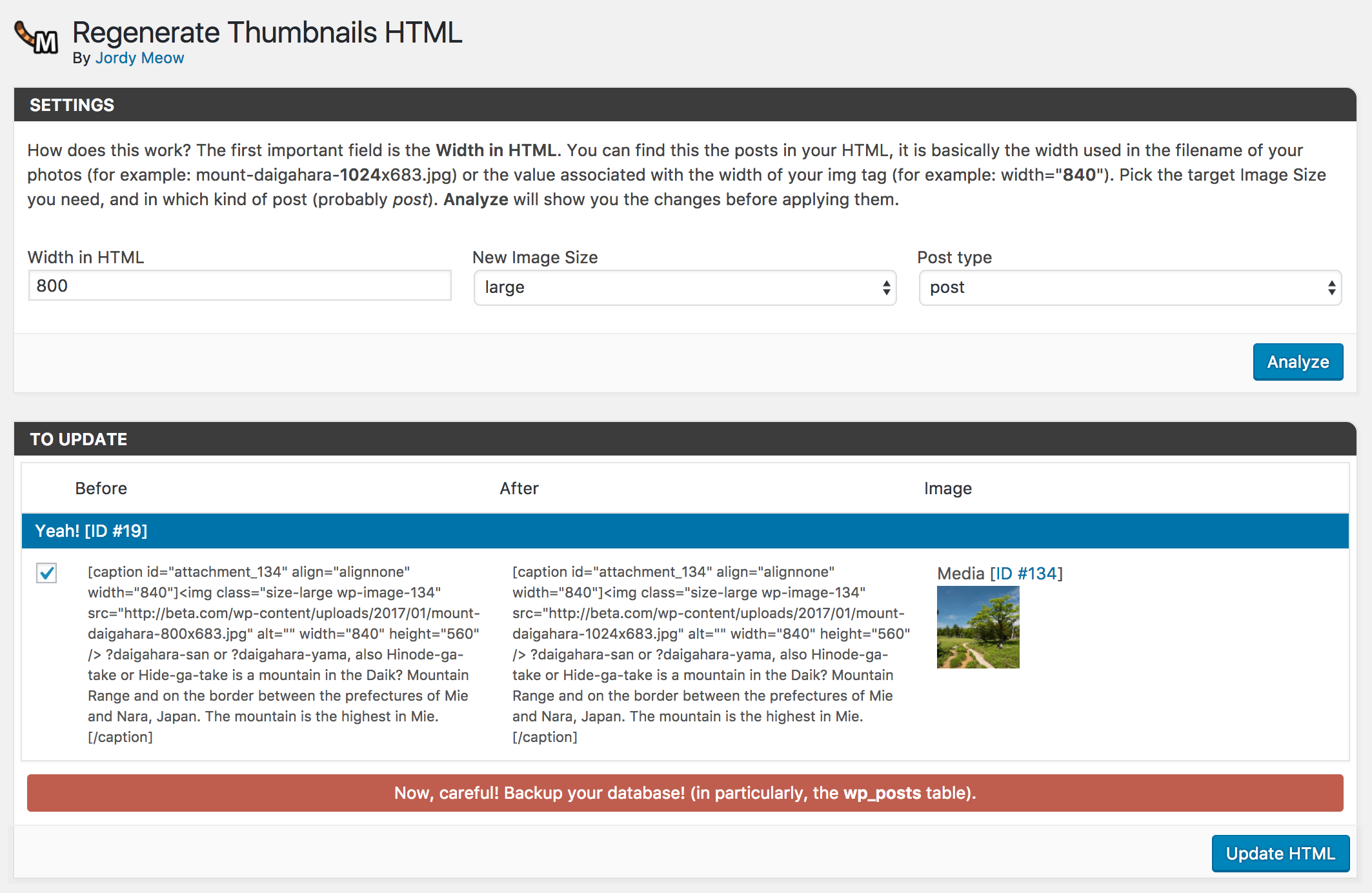 regenerate-thumbnails-html screenshot 1