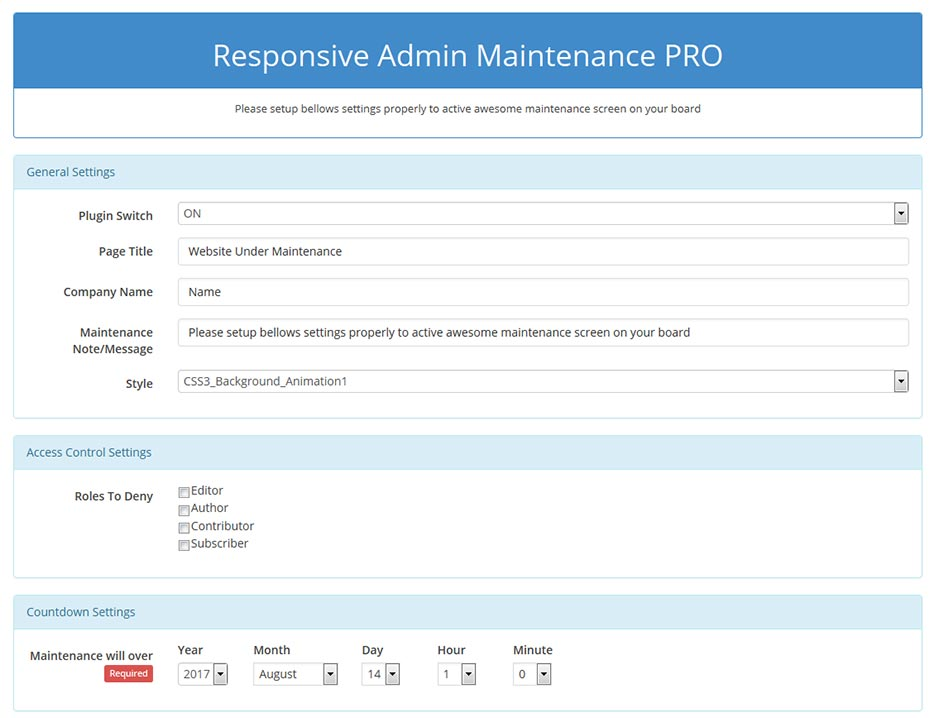 responsive-admin-maintenance-pro screenshot 1