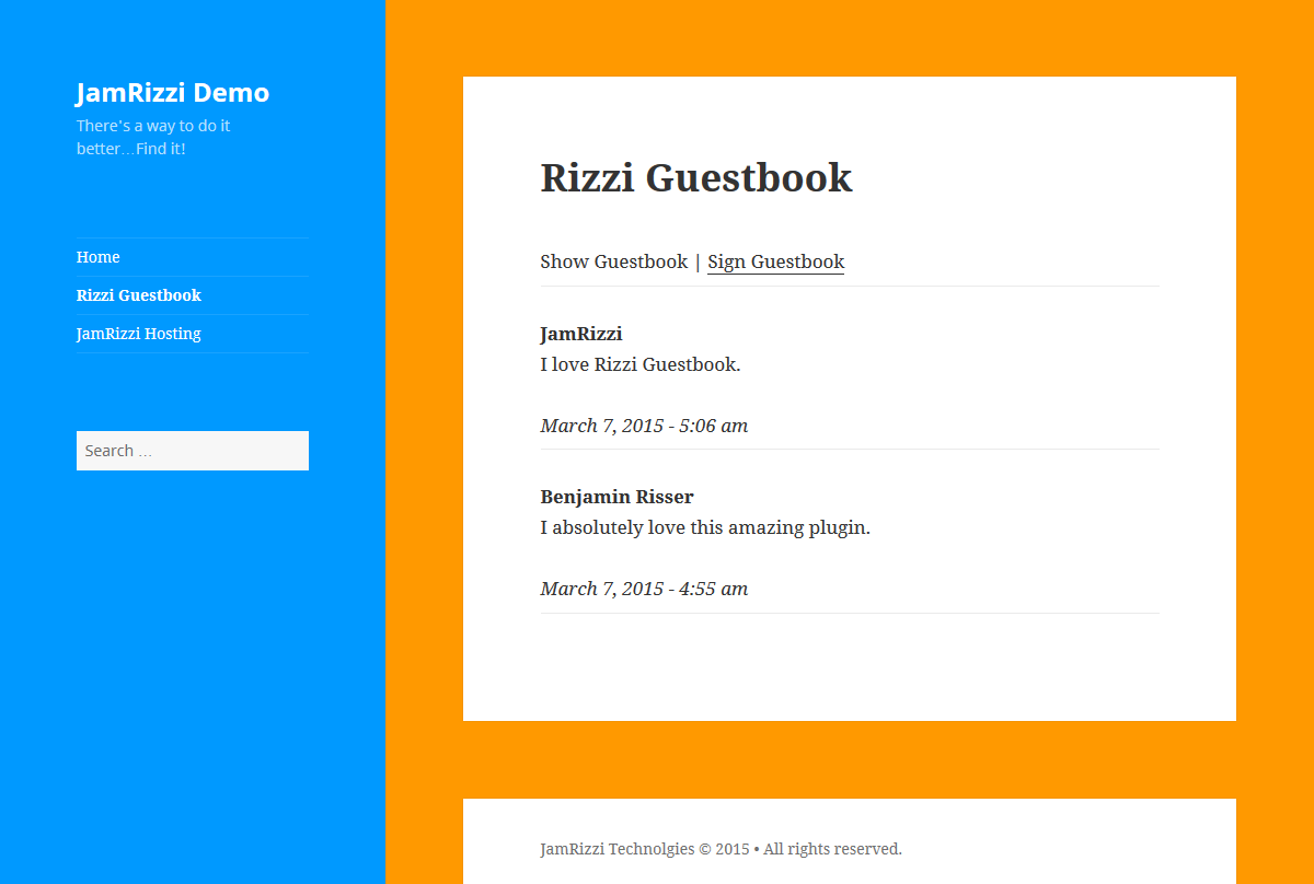rizzi-guestbook screenshot 4
