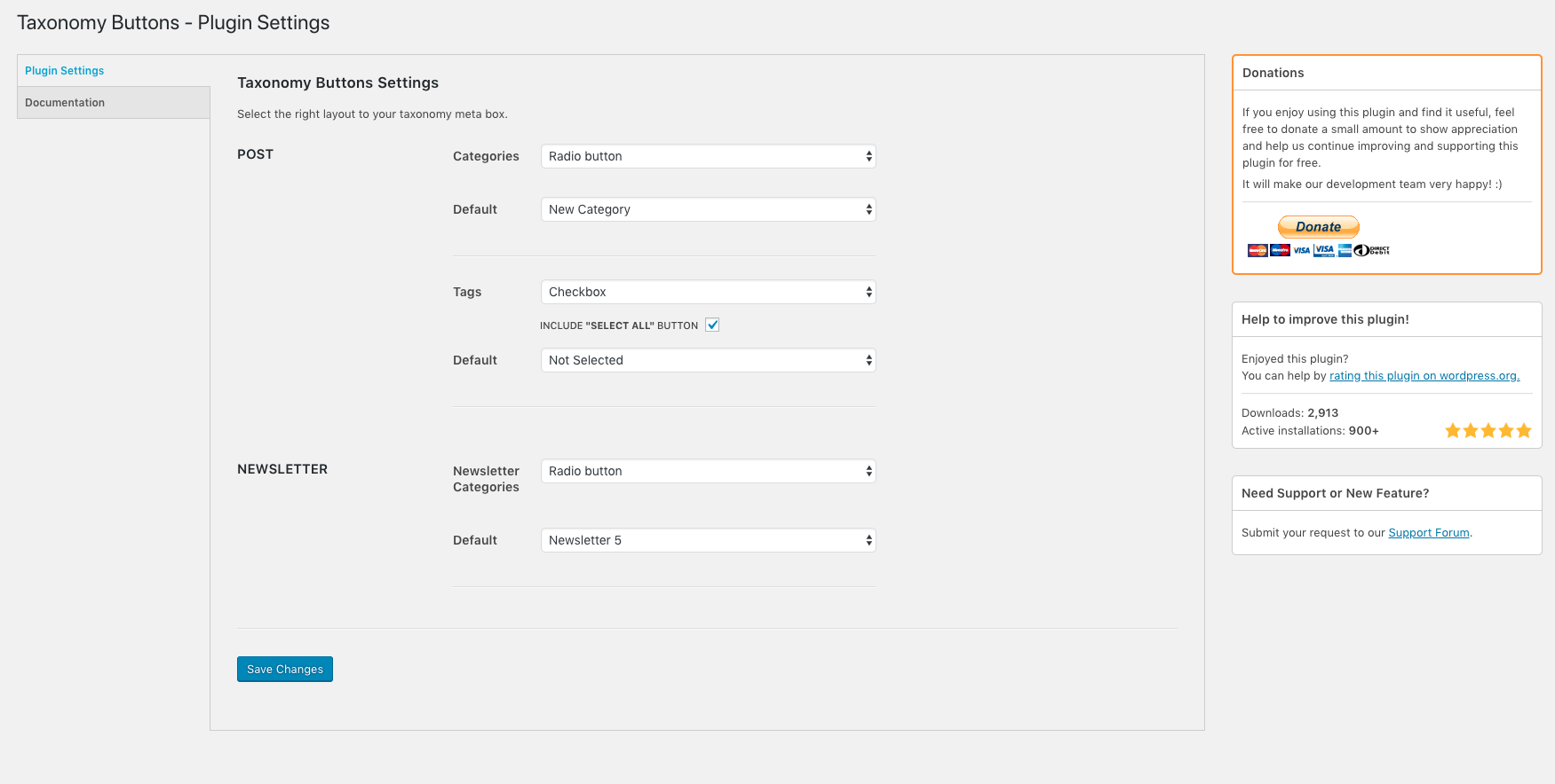 select-all-categories-and-taxonomies-change-checkbox-to-radio-buttons screenshot 1