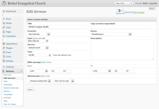 sermon-browser screenshot 3
