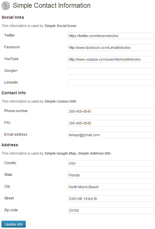simple-contact-info screenshot 1