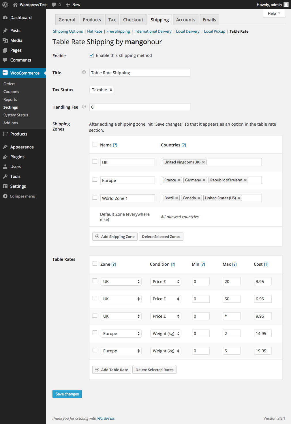 table-rate-shipping-for-woocommerce screenshot 1