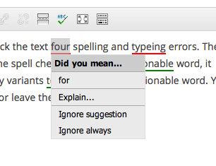 tinymce-spellcheck screenshot 2