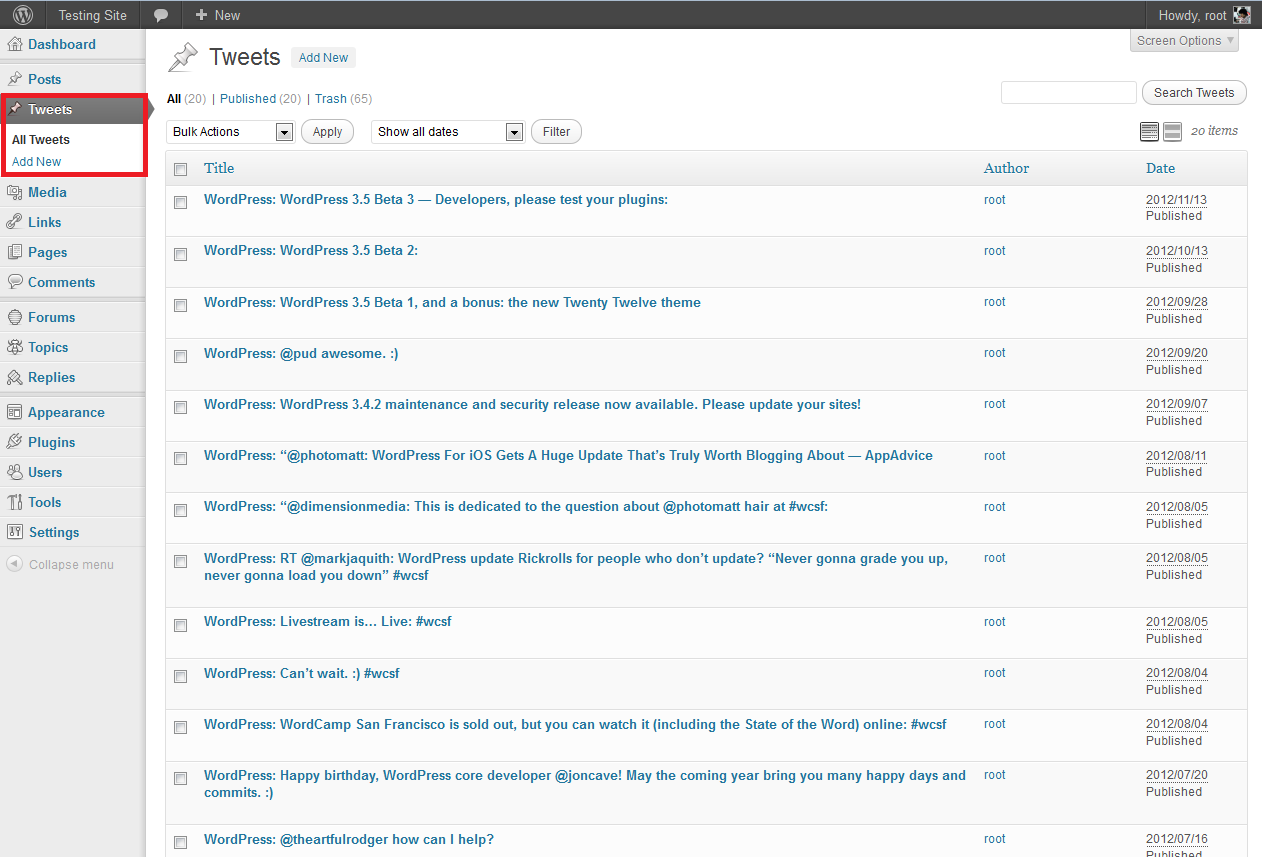 tweet-collection screenshot 1