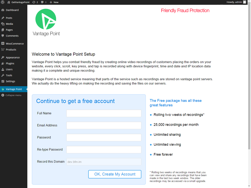 vantage-point-friendly-fraud-protection-for-woocommerce screenshot 1