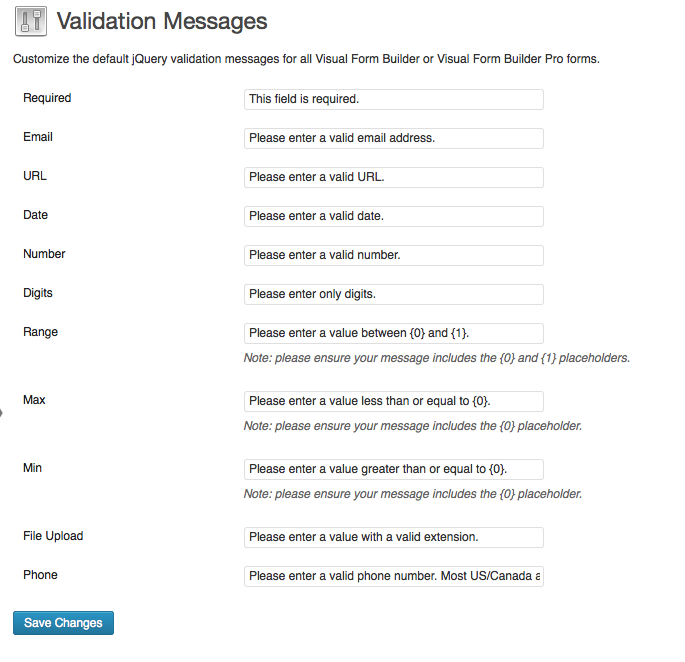 vfb-custom-validation-messages screenshot 1