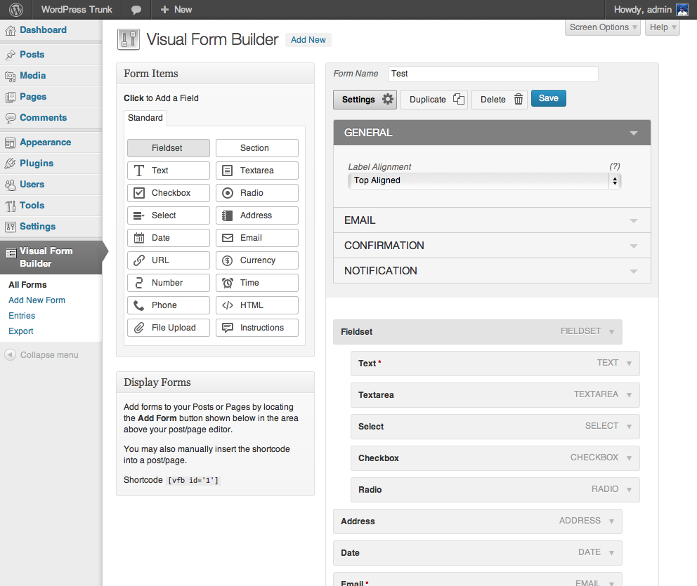 visual-form-builder screenshot 1