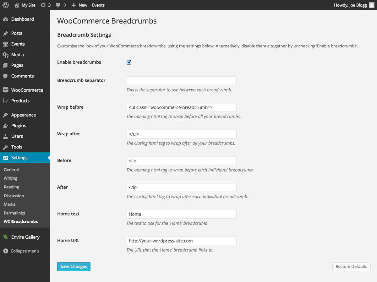 woocommerce-breadcrumbs screenshot 2