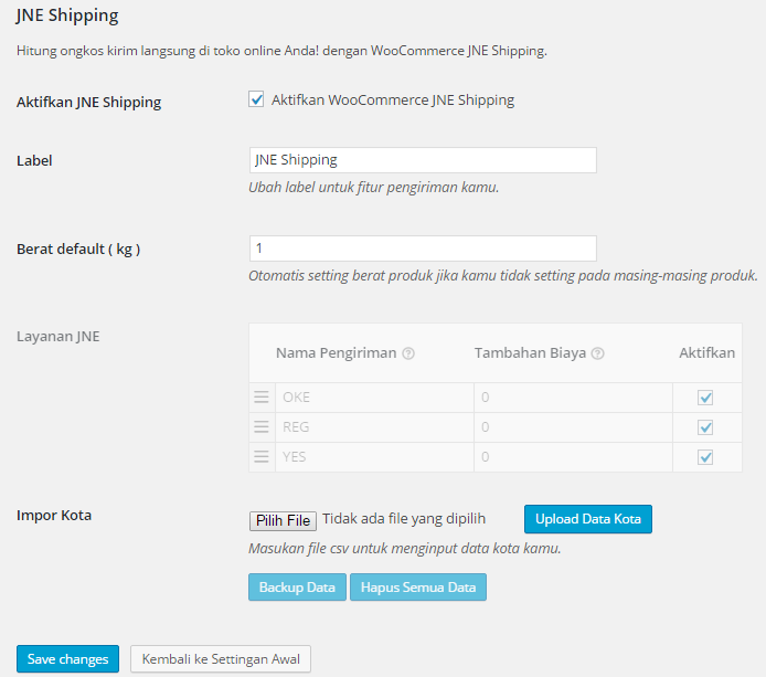 woocommerce-jne screenshot 2