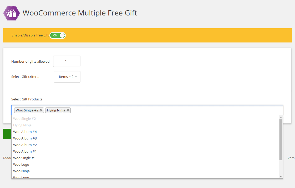 woocommerce-multiple-free-gift screenshot 2