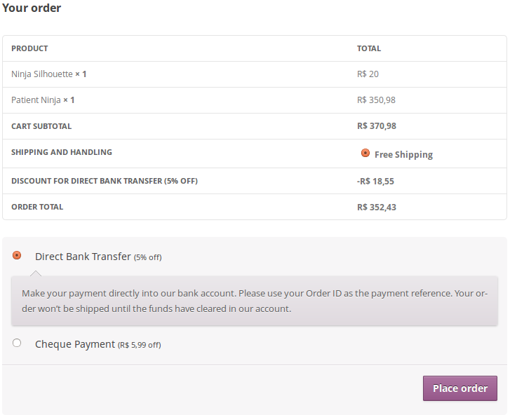 woocommerce-payment-discounts screenshot 2