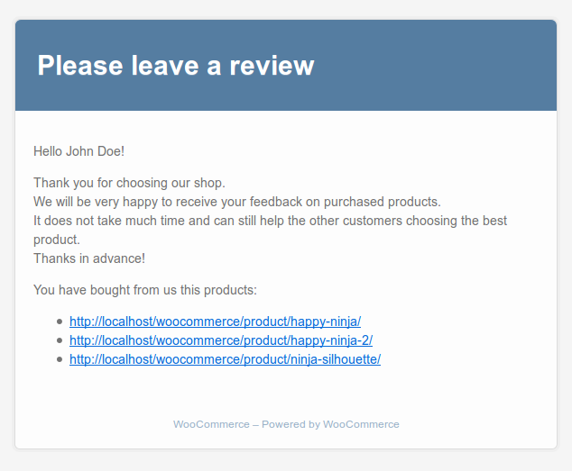 woocommerce-review-reminder screenshot 2