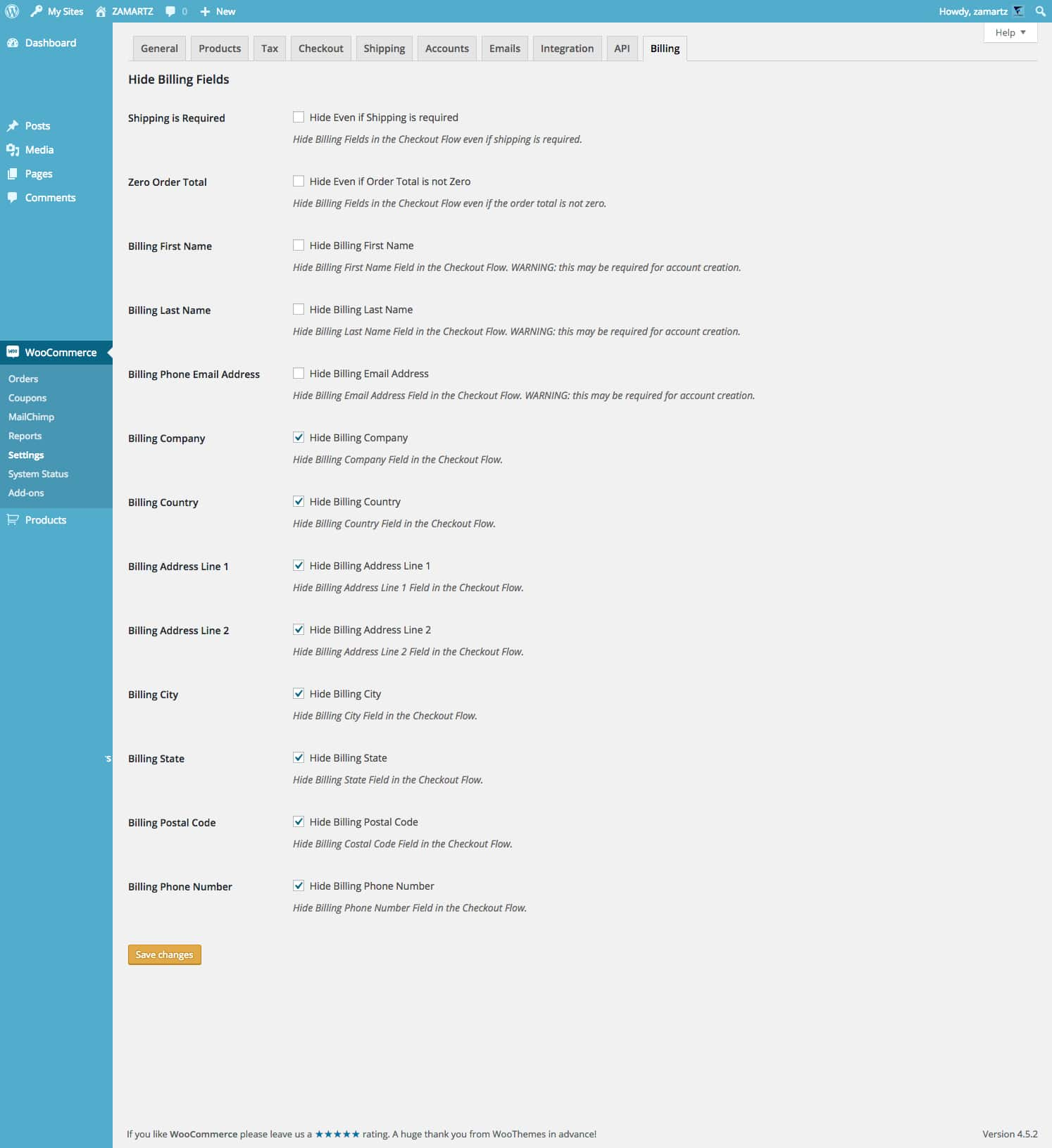 woohide-hide-billing-fields screenshot 4