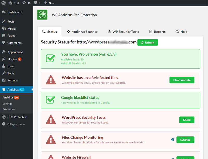 wp-antivirus-site-protection screenshot 1