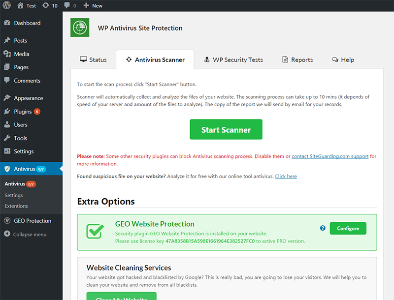 wp-antivirus-site-protection screenshot 2