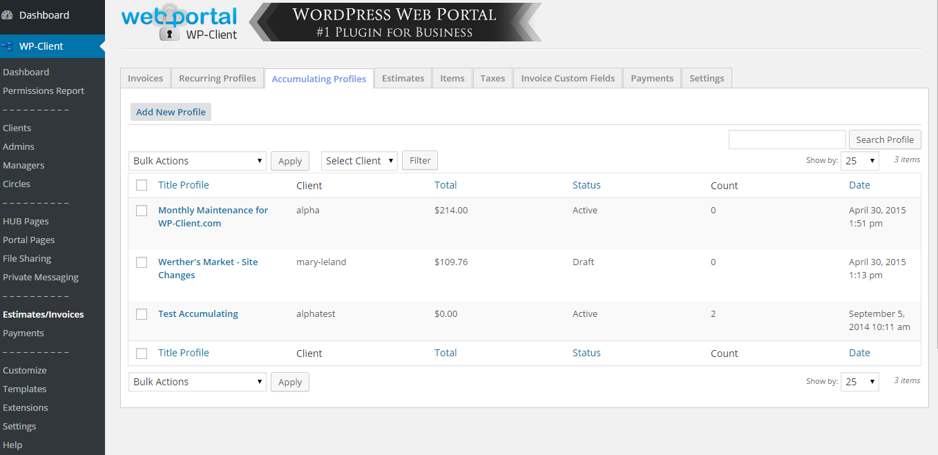 wp-client-lite-invoicing-estimates-billing screenshot 2