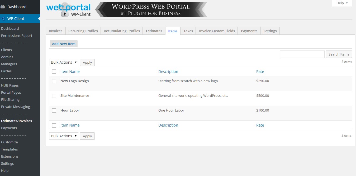 wp-client-lite-invoicing-estimates-billing screenshot 3