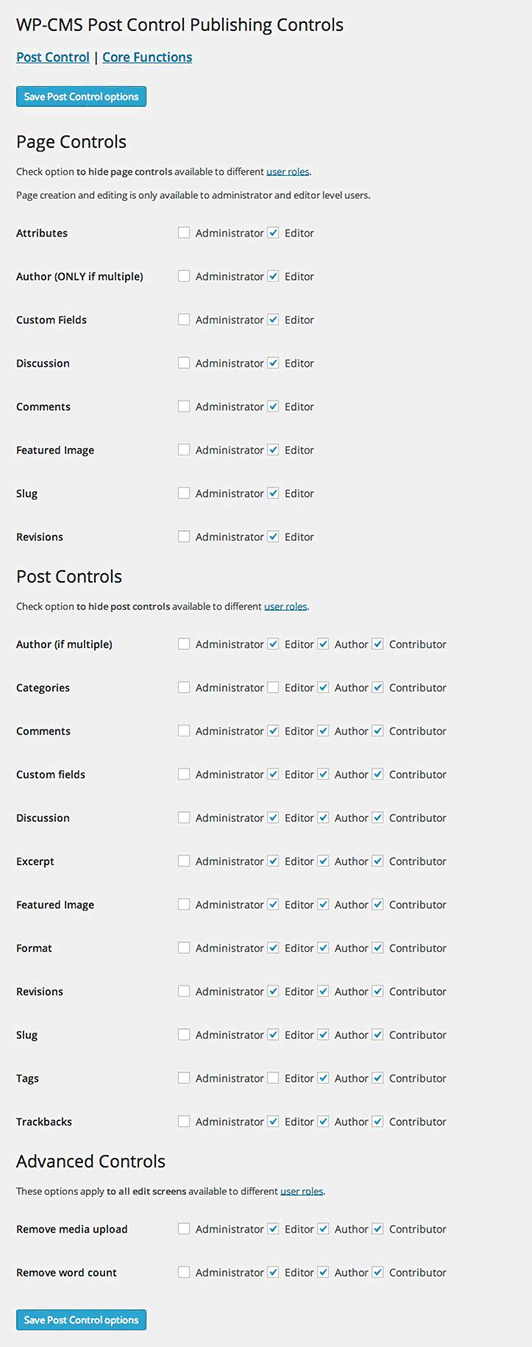 wp-cms-post-control screenshot 1