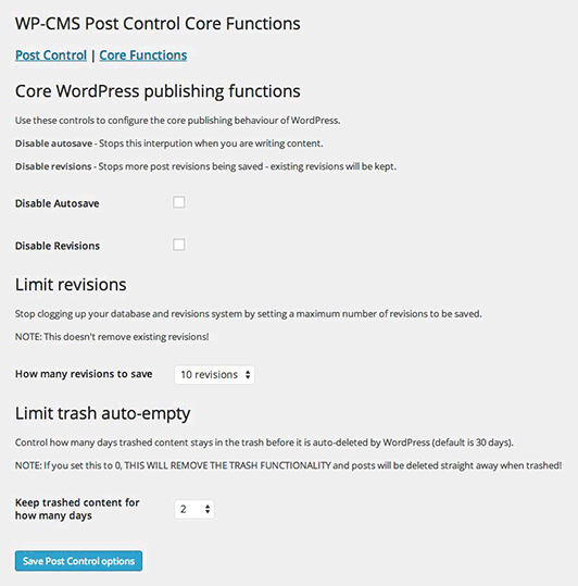 wp-cms-post-control screenshot 2