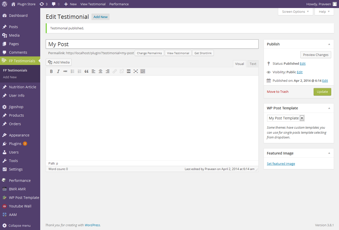 wp-custom-post-template screenshot 3