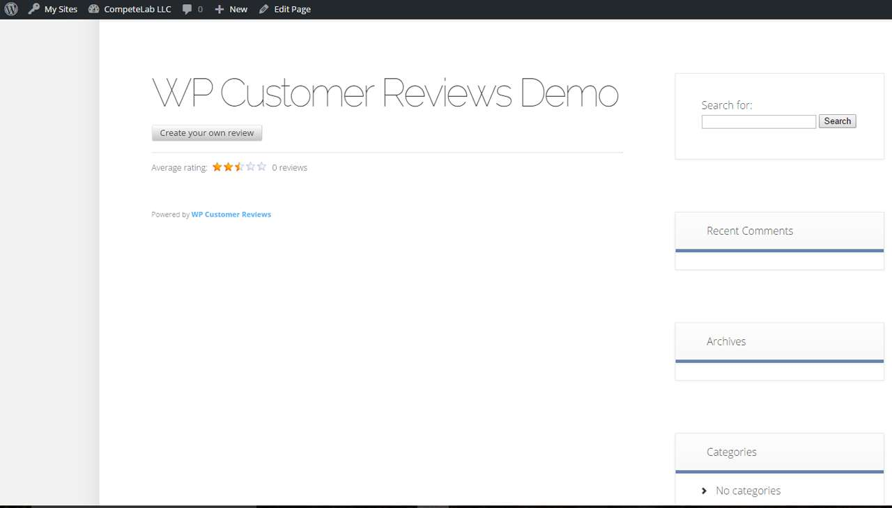 wp-customer-reviews screenshot 2