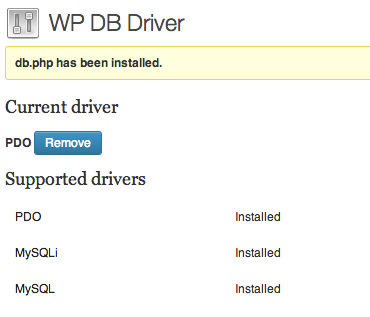 wp-db-driver screenshot 1