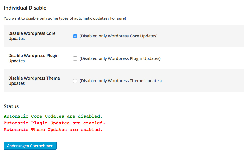 wp-disable-automatic-updates screenshot 3