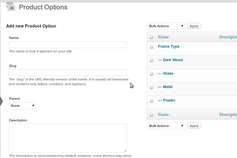 wp-e-commerce-simple-product-options screenshot 2