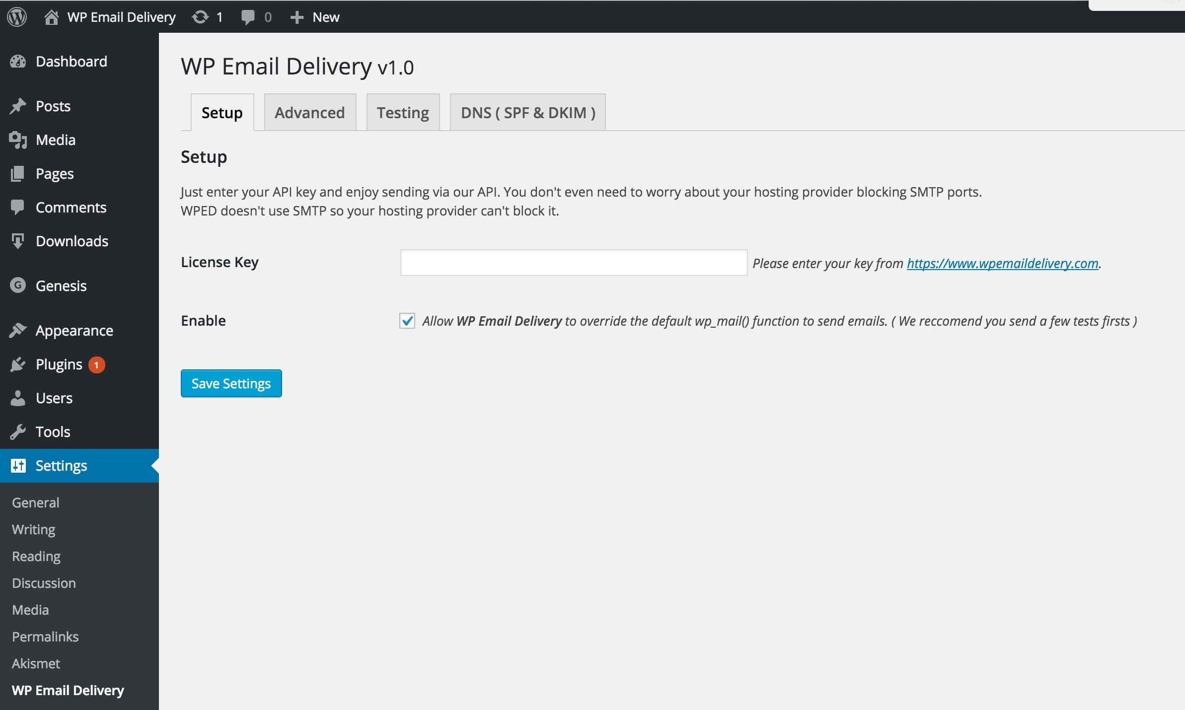 wp-email-delivery screenshot 1