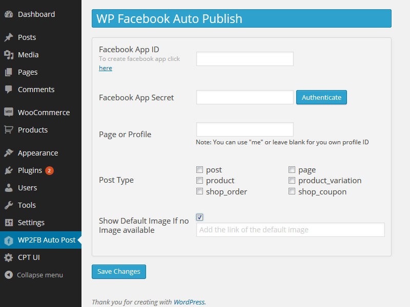 wp-facebook-auto-publish screenshot 2