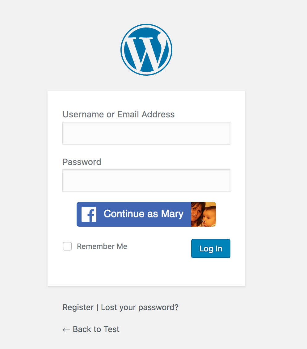 wp-facebook-login screenshot 1