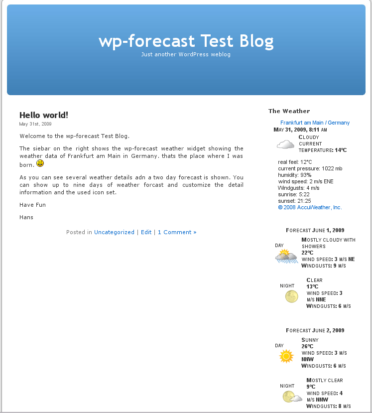 wp-forecast screenshot 1