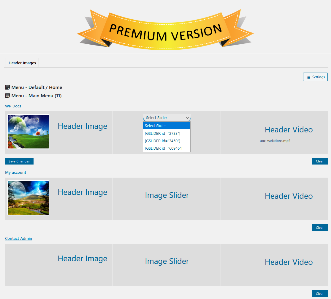 wp-header-images screenshot 1