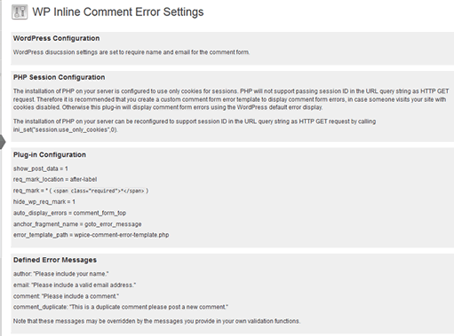 wp-inline-comment-errors screenshot 3