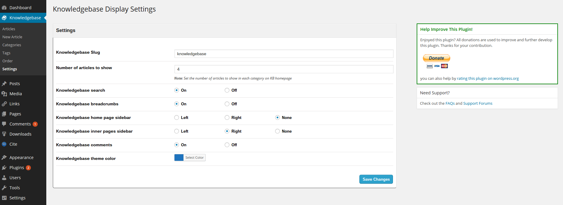 wp-knowledgebase screenshot 3