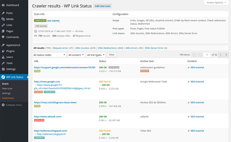 wp-link-status screenshot 7