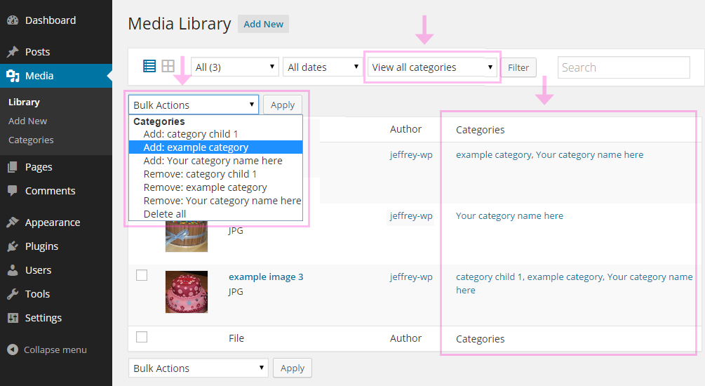 wp-media-library-categories screenshot 1