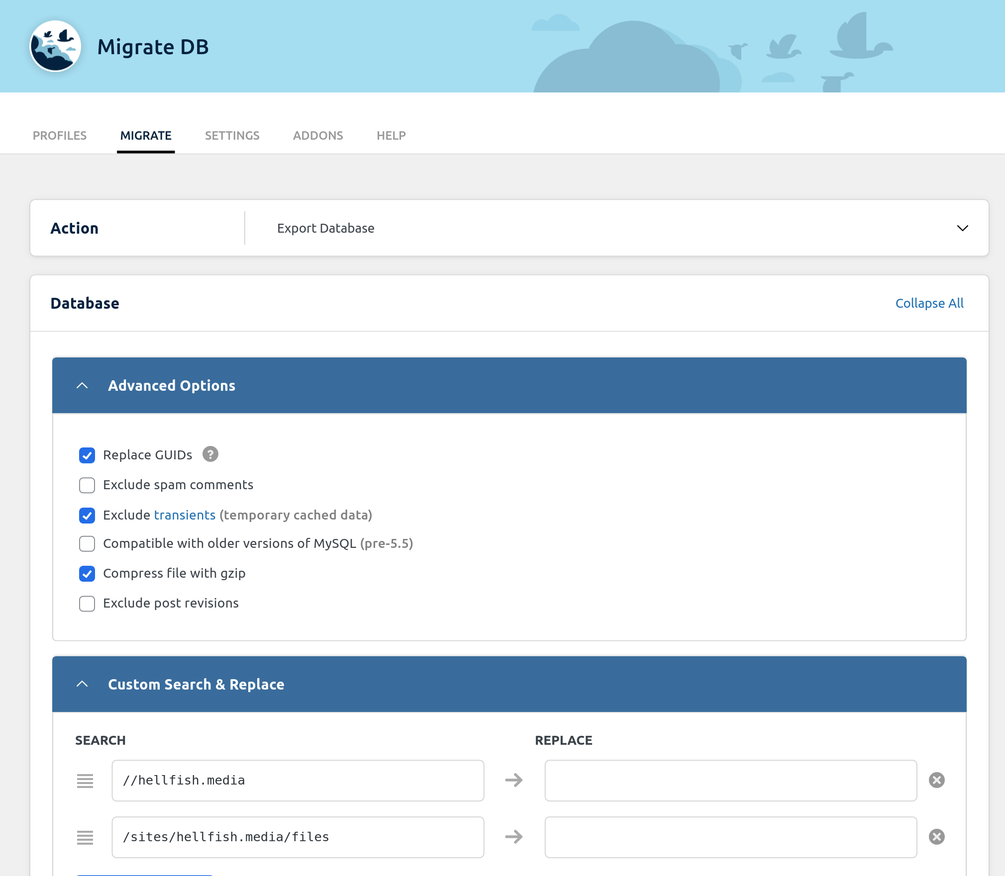 wp-migrate-db screenshot 2