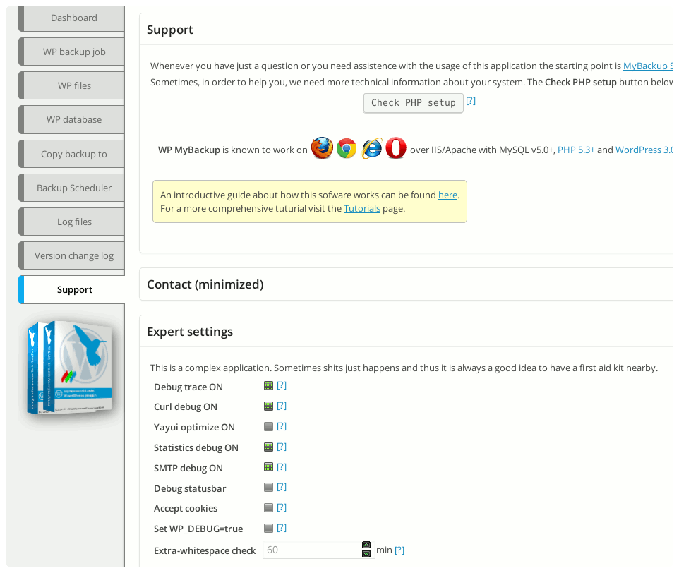 wp-mybackup screenshot 11