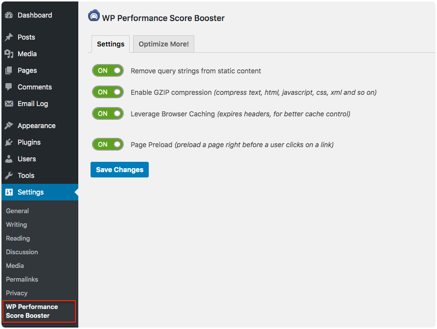 wp-performance-score-booster screenshot 1