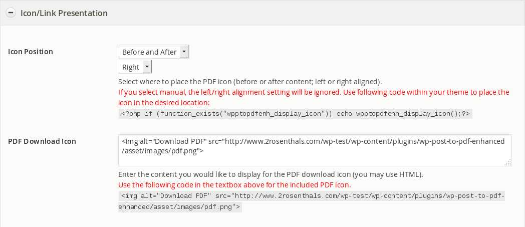 wp-post-to-pdf-enhanced screenshot 3